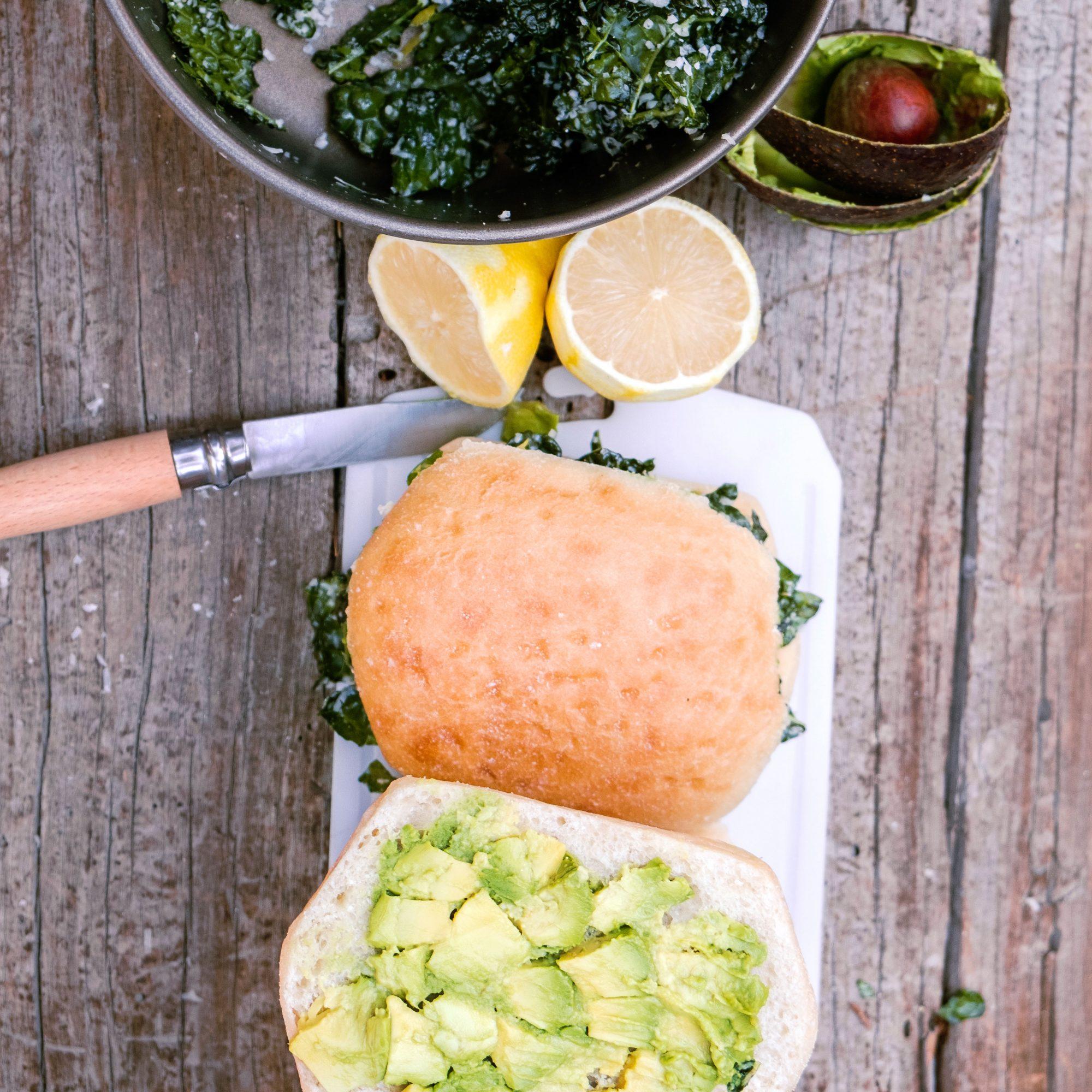 Lemon Kale Avocado Sandwich