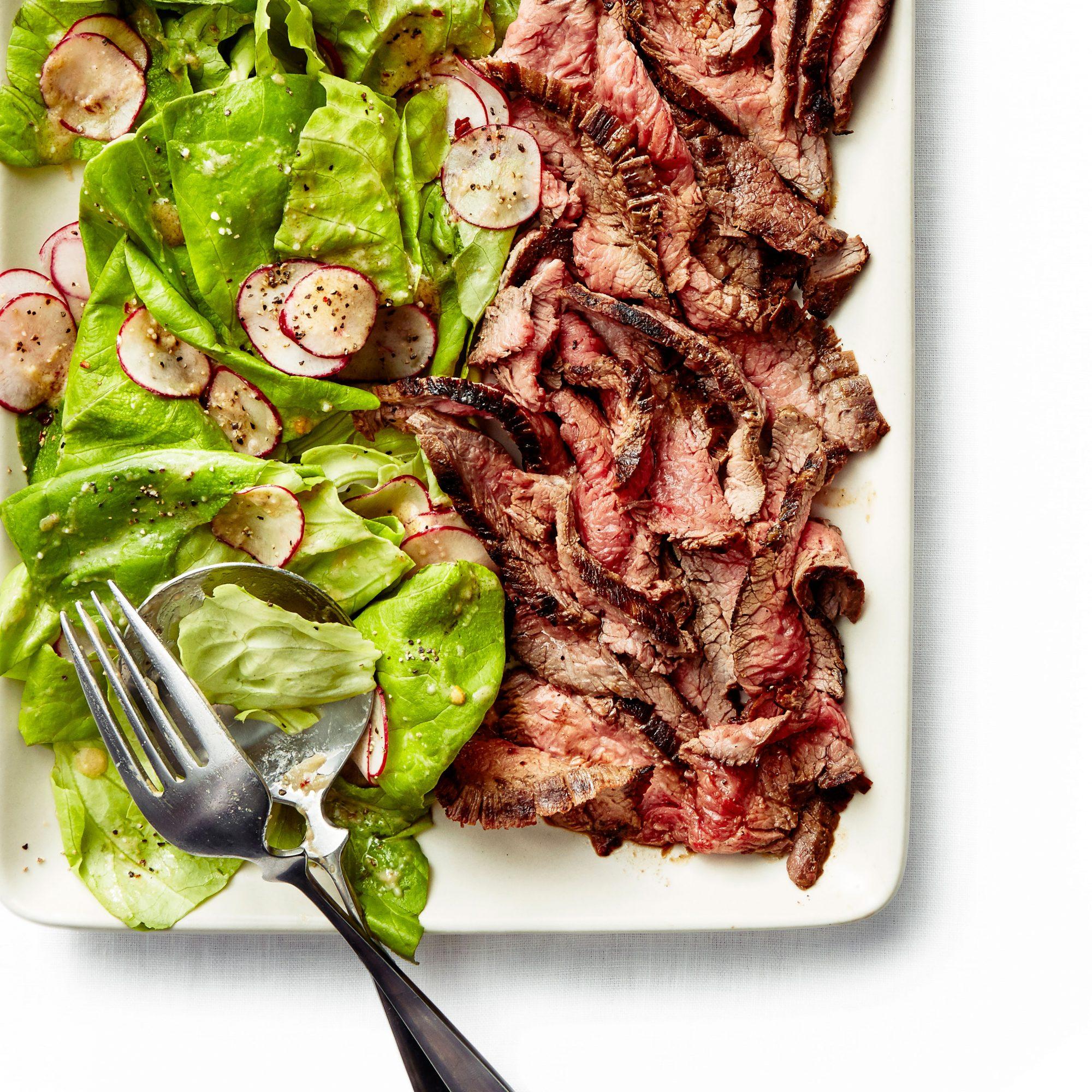 Miso Marinated Flank Steak Salad
