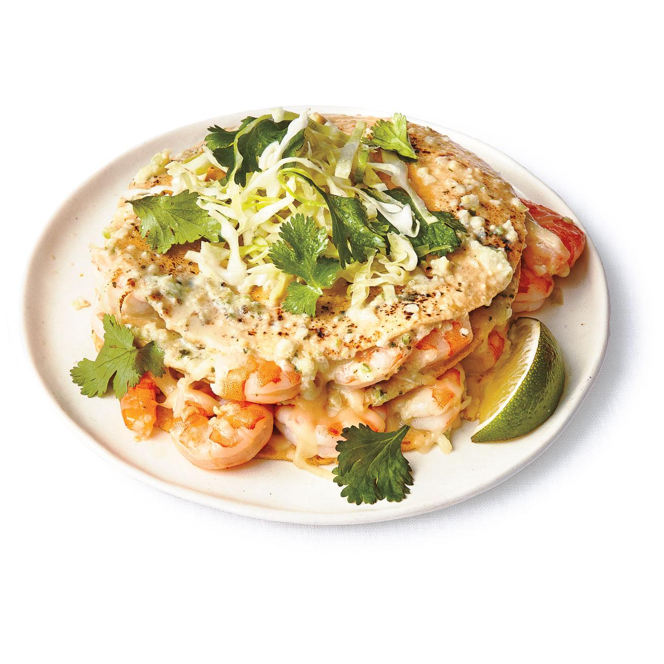 Stacked Shrimp Enchiladas