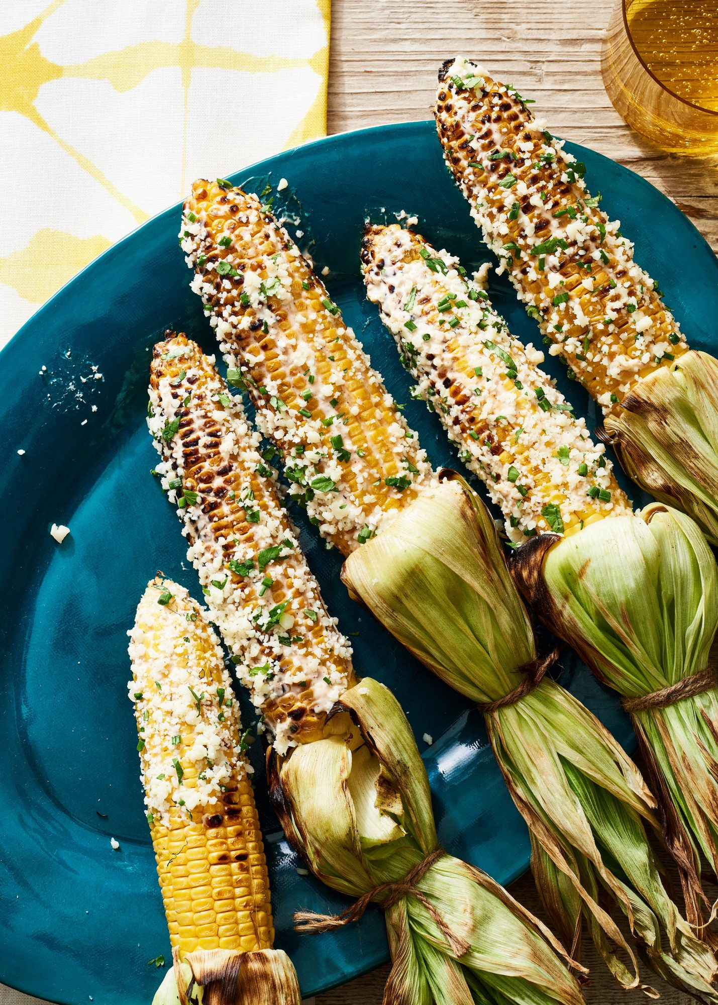 Elote-Style Corn with Cojita and Spiced Cilantro Cream image