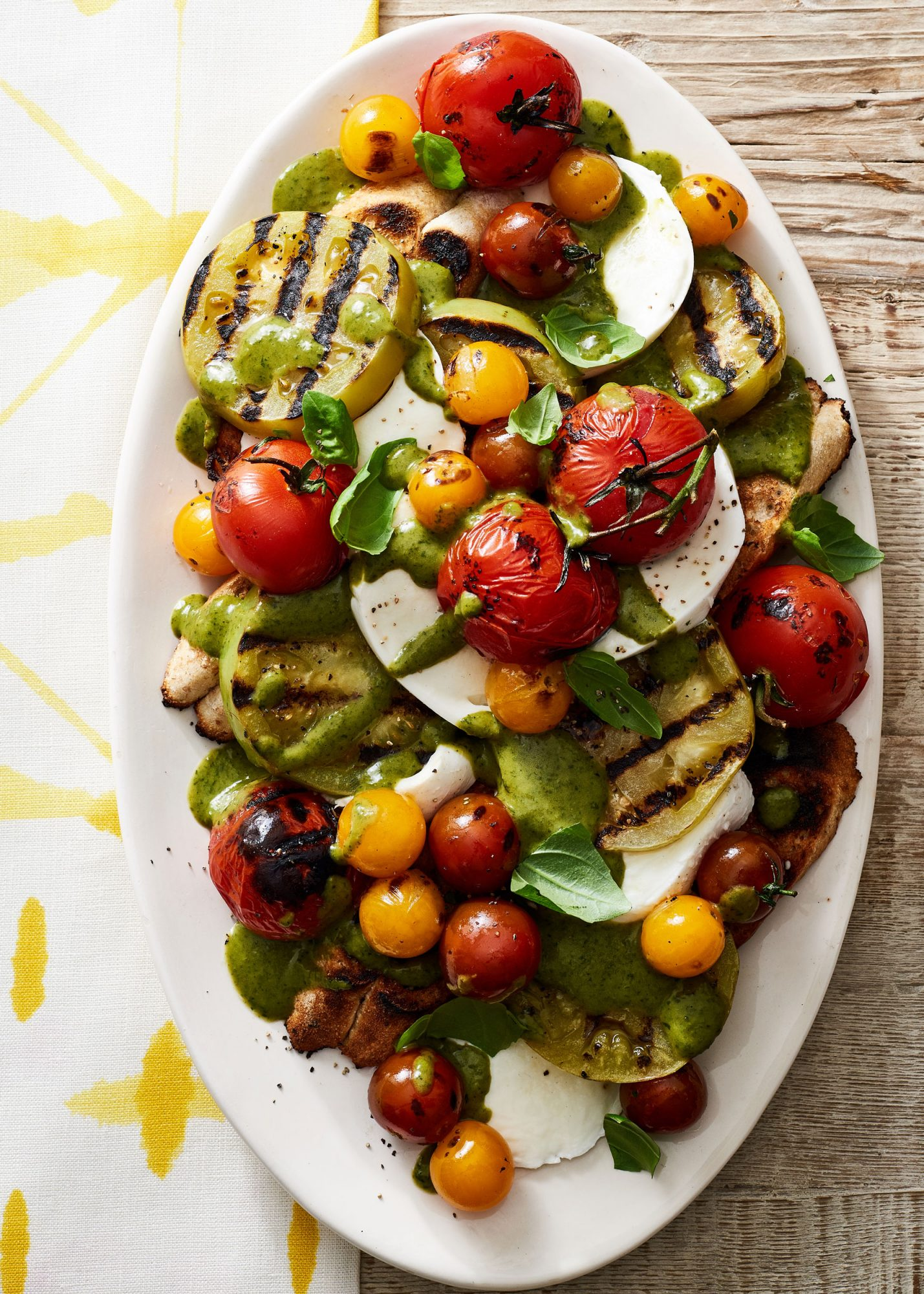 Grilled Tomato Salad with Creamy Basil Dressing