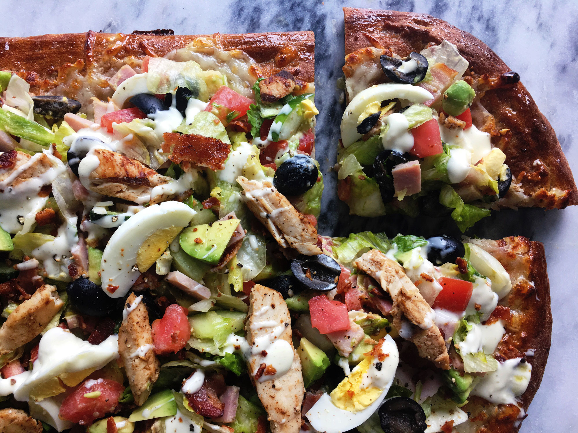 Sheet Pan Cobb Salad Pizza