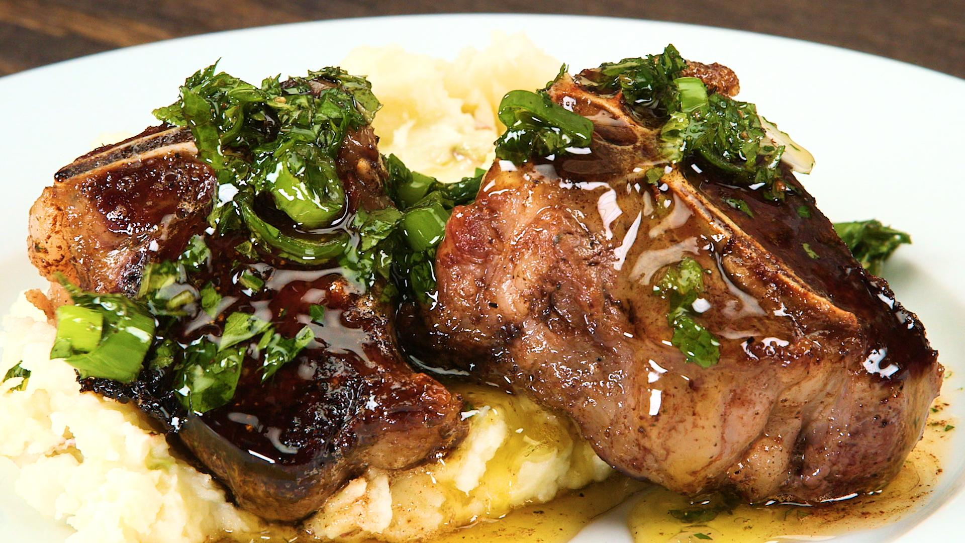 Pan-Roasted Mutton Chops with Mint Salsa Verde Recipe | MyRecipes