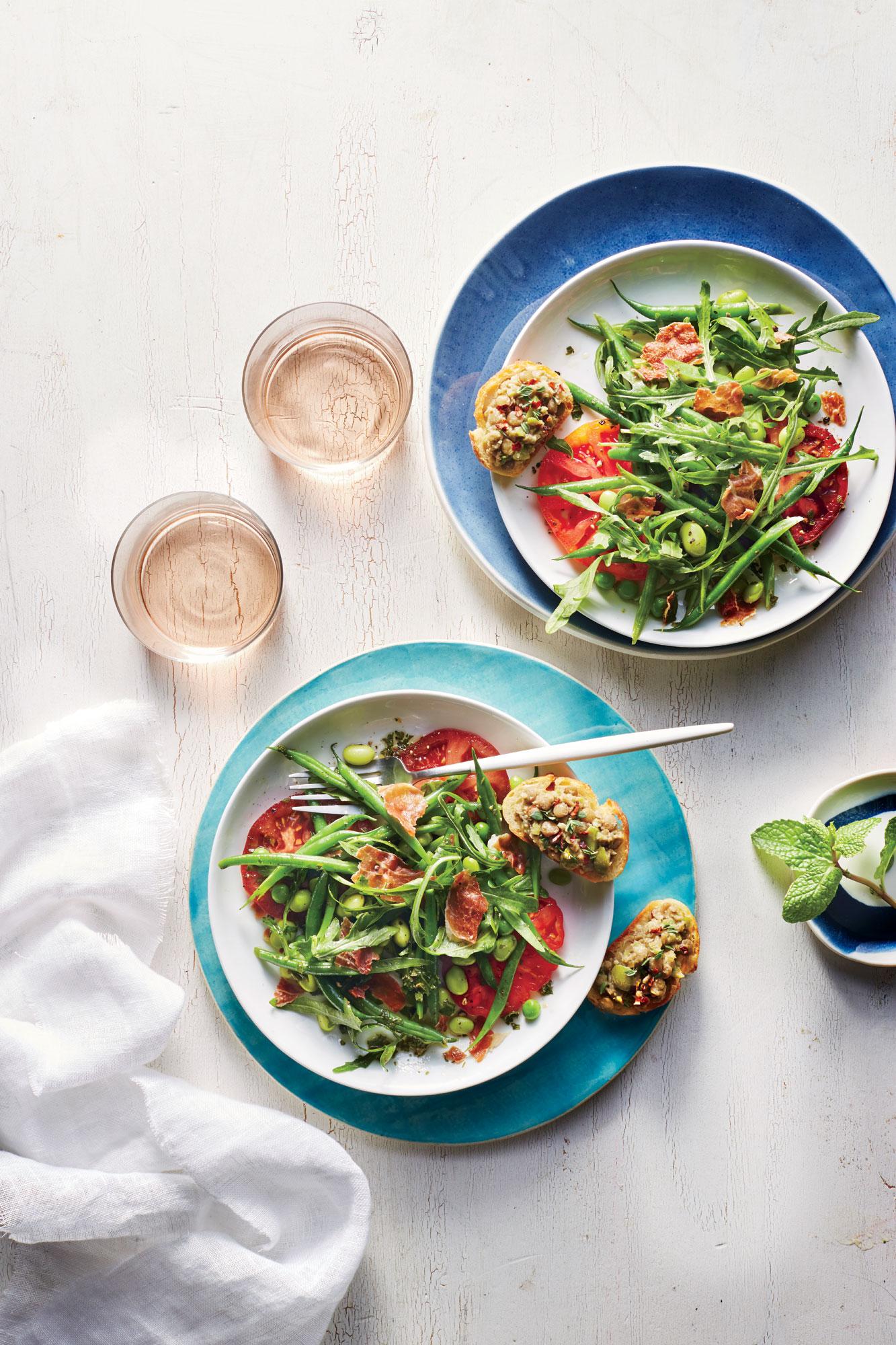 Fresh Pea, Prosciutto, and Herb Salad