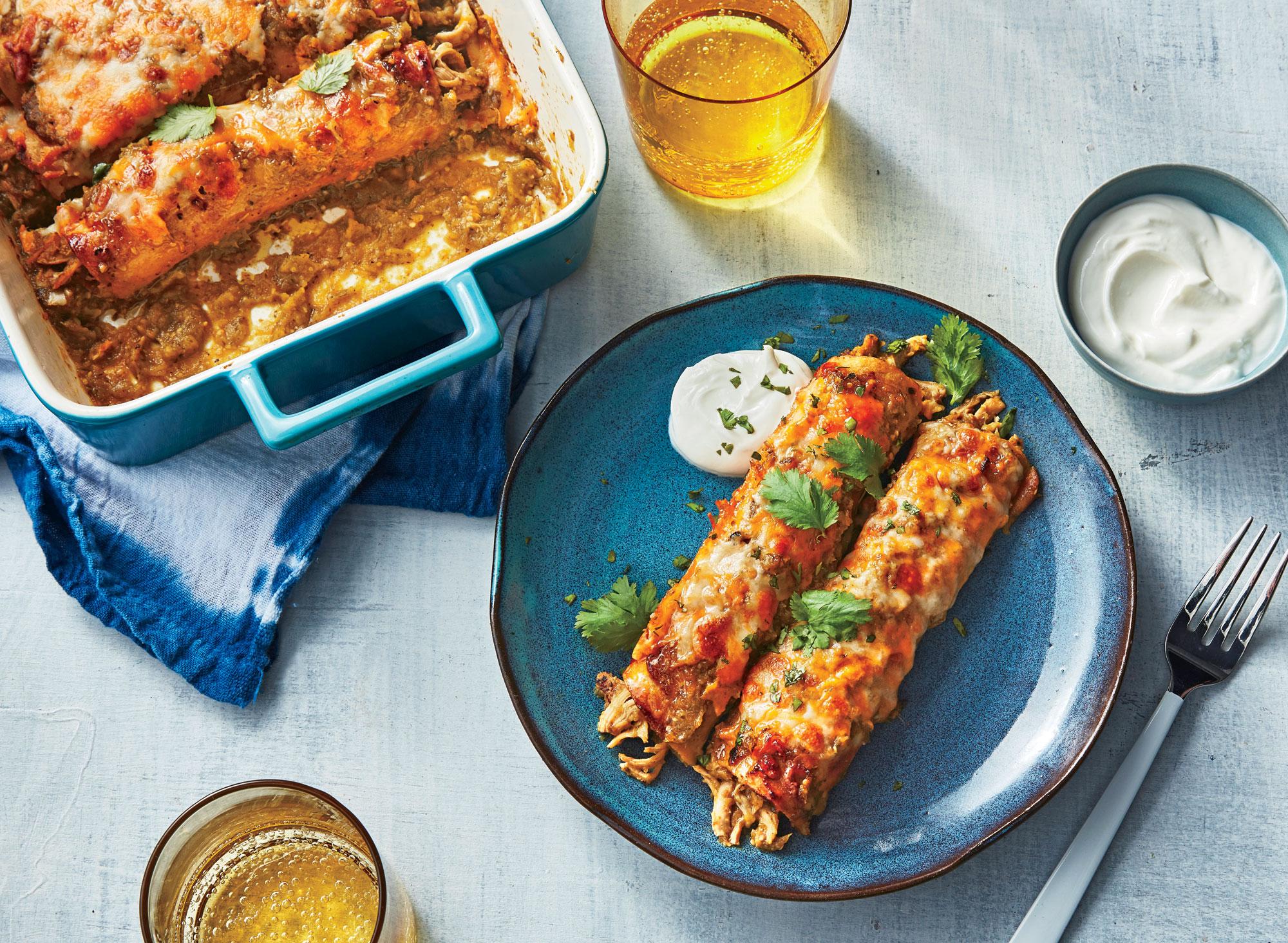 Roasted Chili Verde Chicken Enchiladas