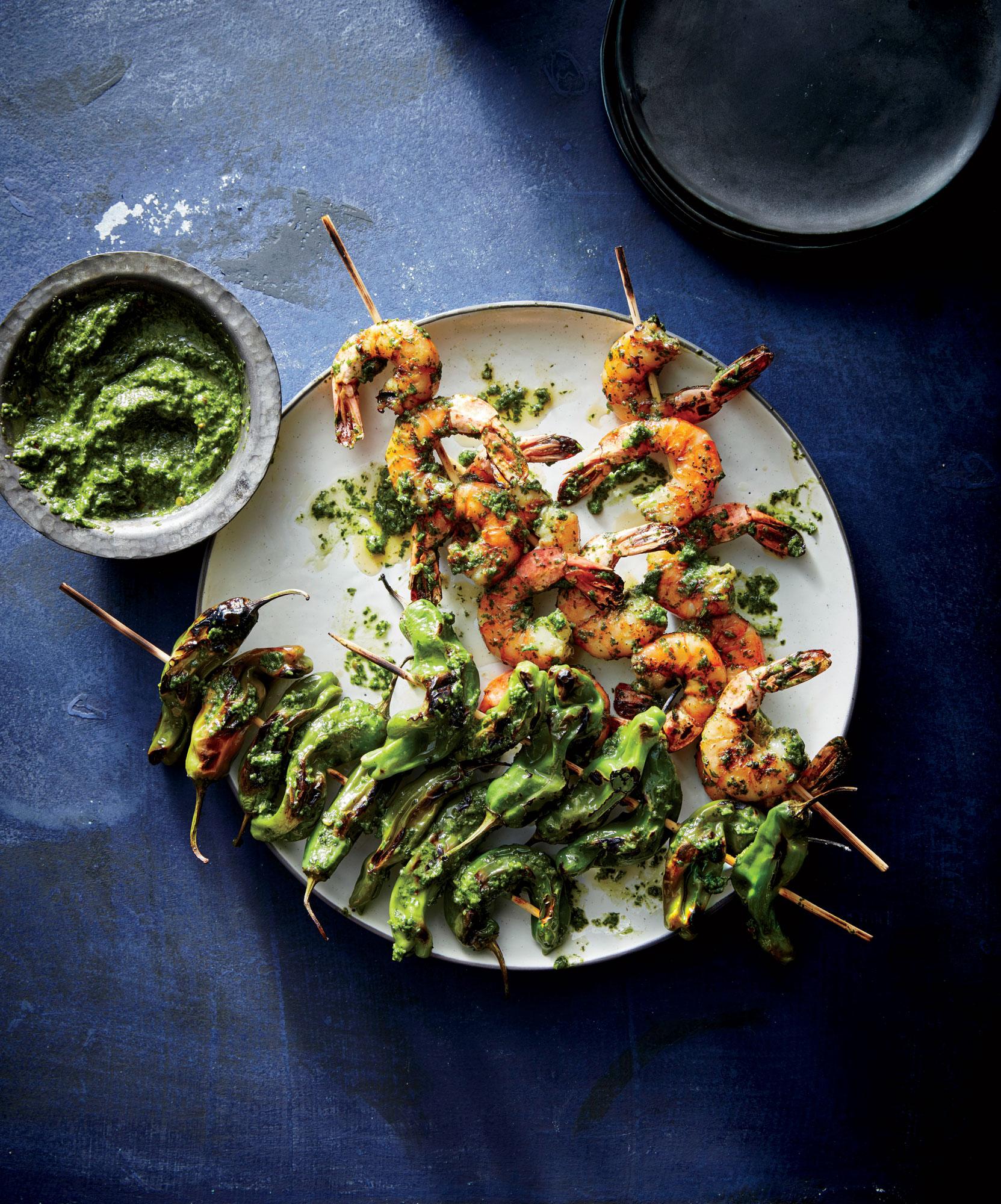 Shishito and Shrimp Skewers with Chimichurri