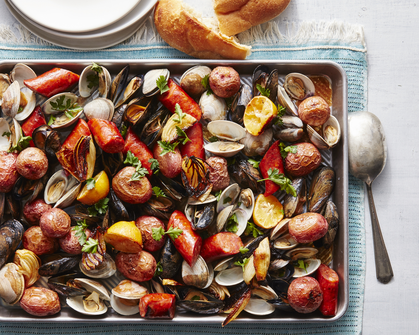 Sheet Pan Seafood Bake with Buttery Wine Sauce
