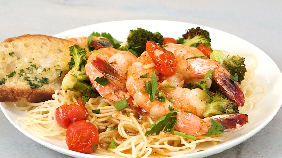 Sheet-Pan Shrimp Scampi with Broccoli and Tomatoes image