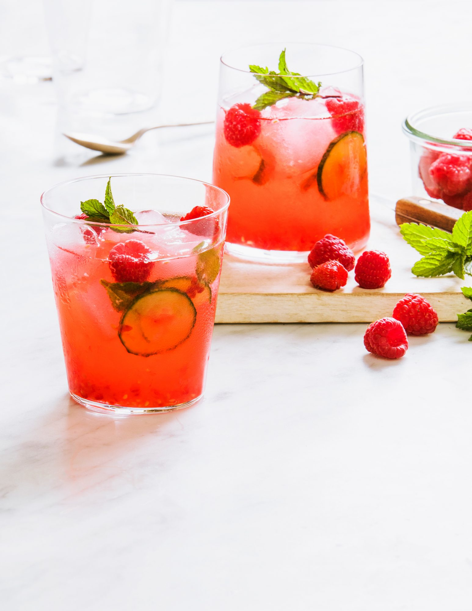 <p>Raspberry, Cucumber, and Mint Smash</p>