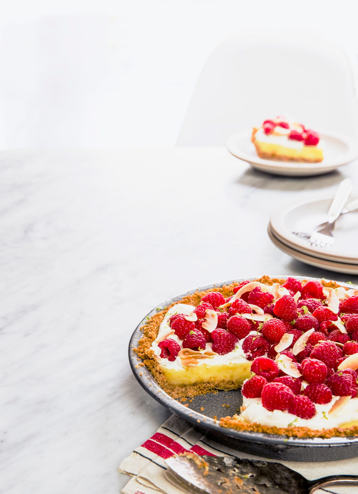 Raspberry, Lime, and Coconut Pie