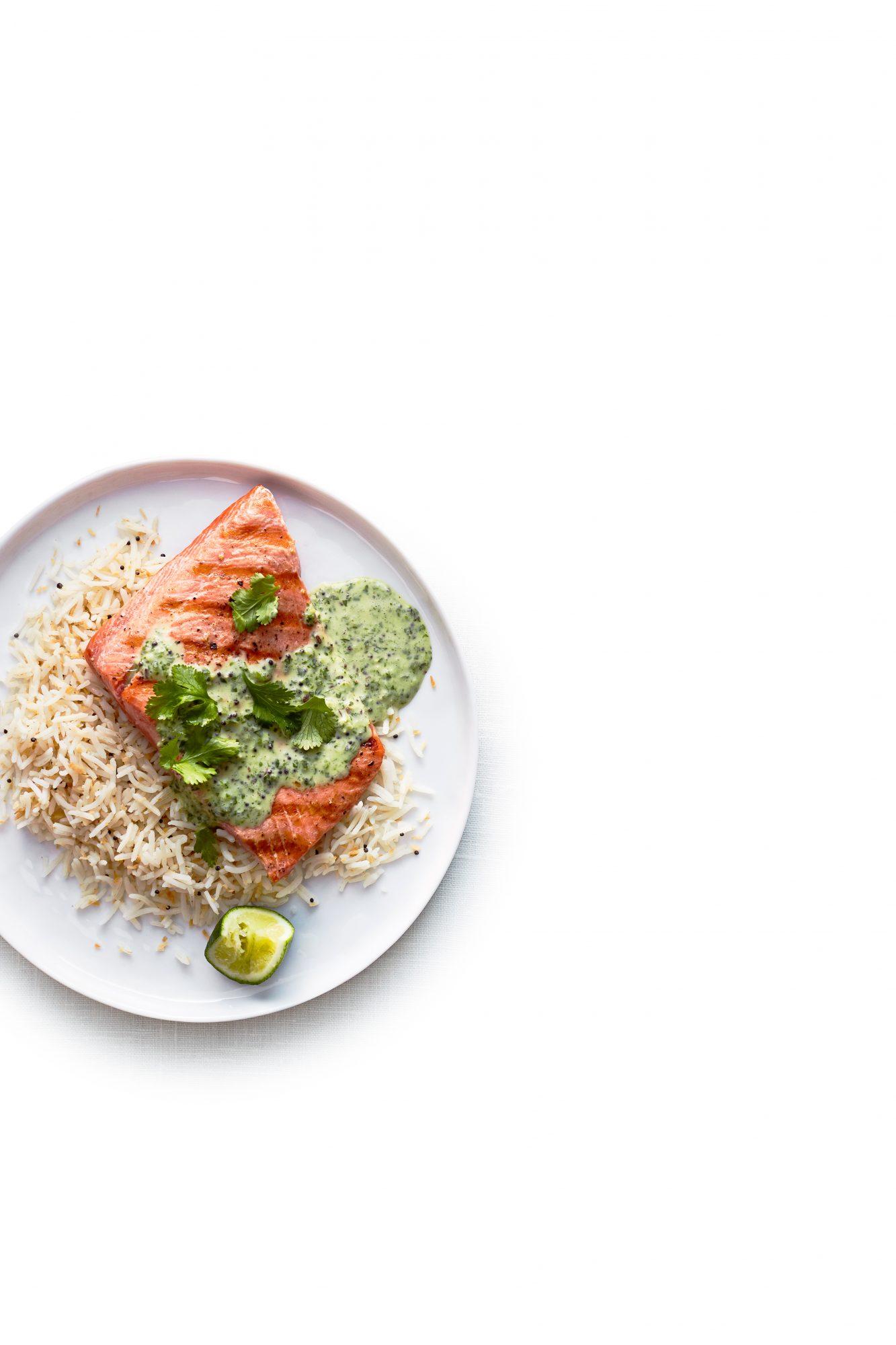 Salmon with Coconut Lime Cilantro Sauce
