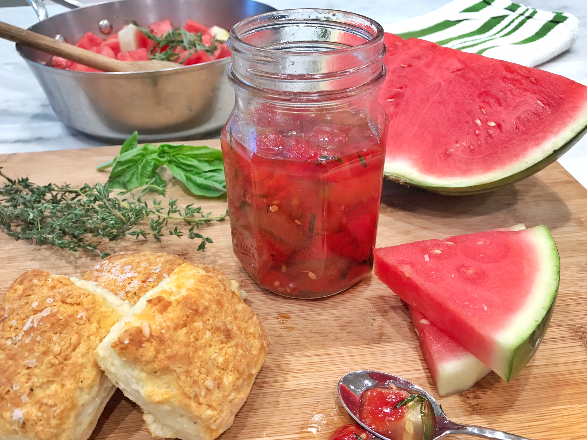 Chadwick Boyd's Parmesan-Black Pepper Biscuits with Watermelon Jam is What Summer Brunching is All About