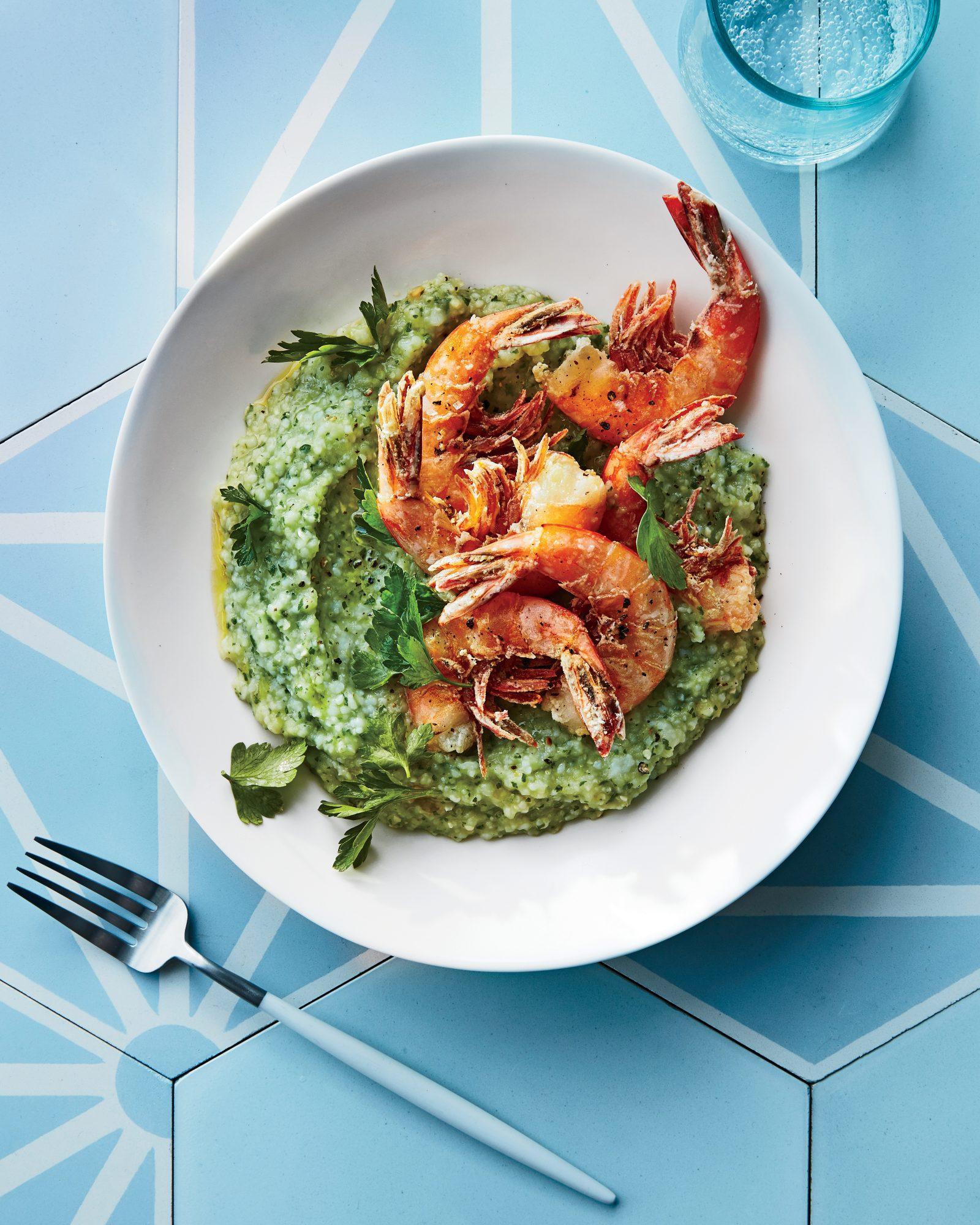 Crispy Salt-and-Pepper Shrimp over Green Grits