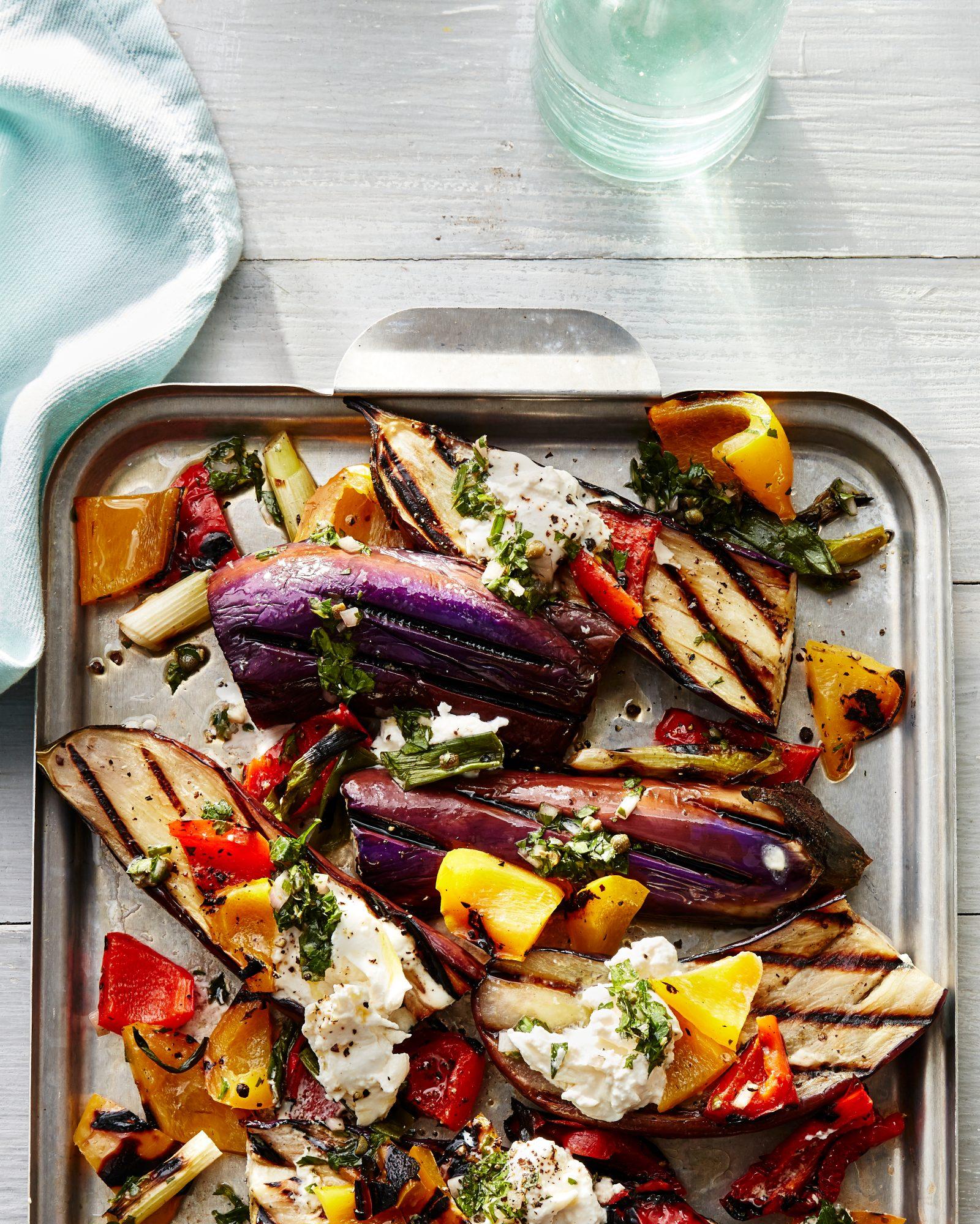 Charred Eggplant with Salsa Verde and Burrata