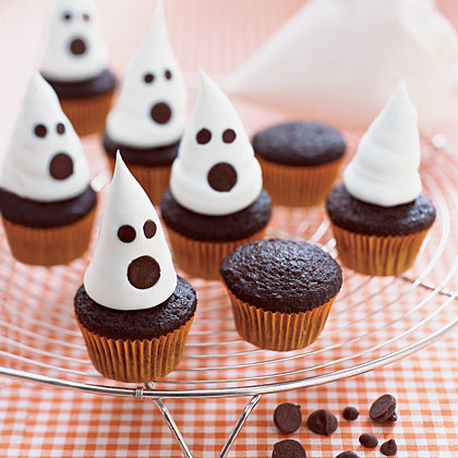 Decorating halloween cupcakes rare photo