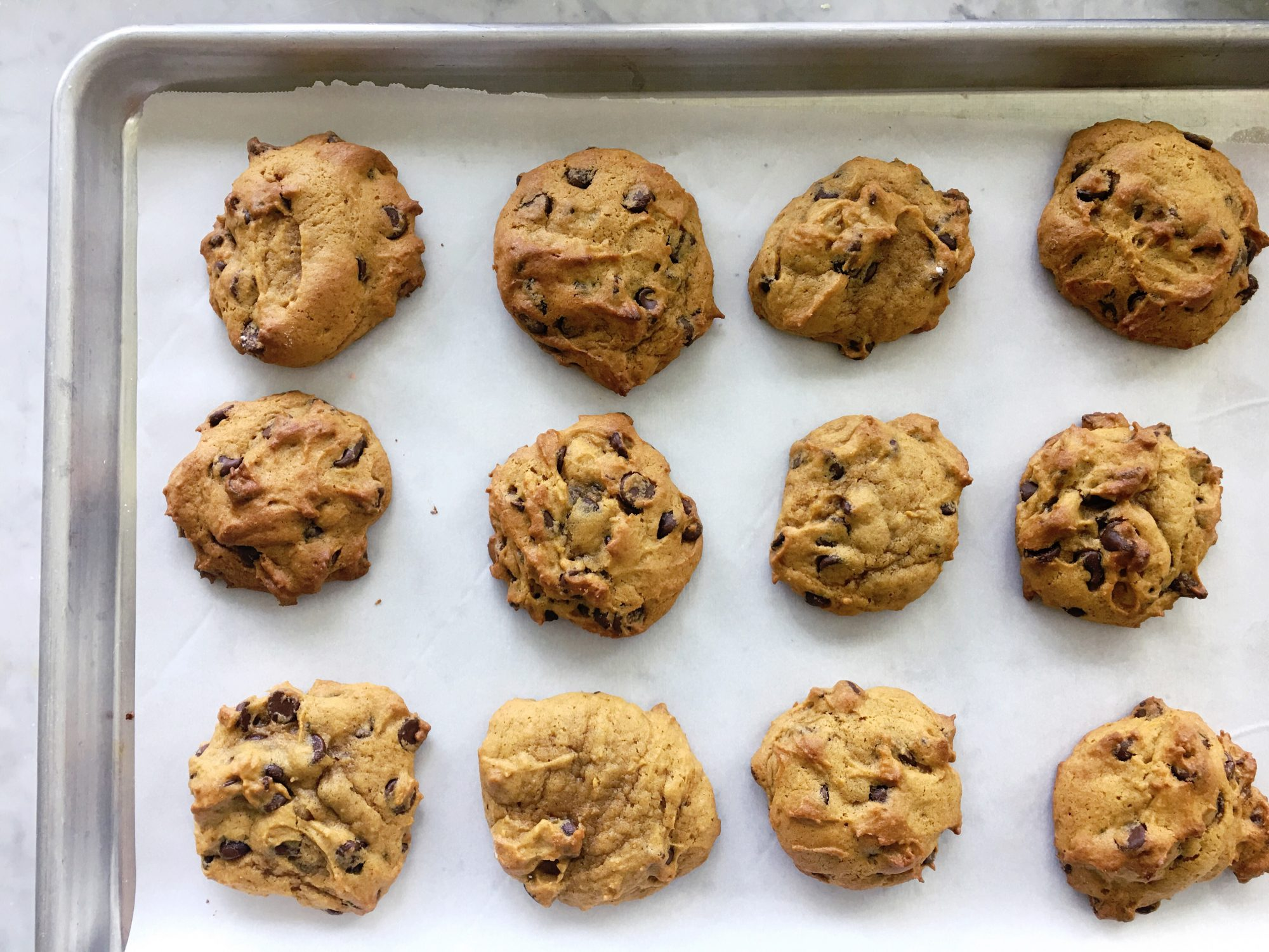 pumpkin chocolate chip cookies with brown butter