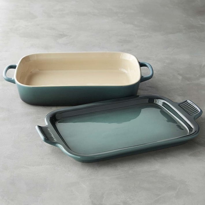 Le Creuset Stoneware Rectangular Baker with Platter Lid, Lapis