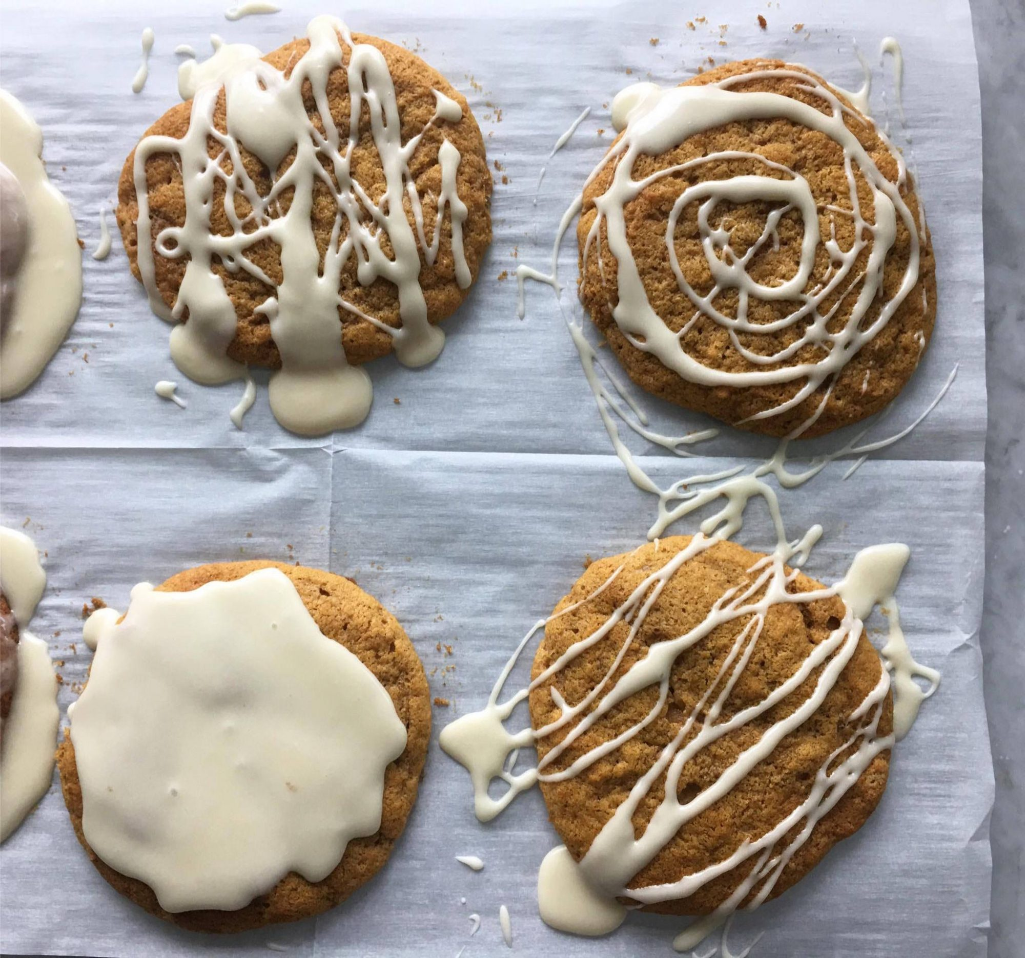 <p>Pumpkin Spice Cookies with Coffee Glaze</p>