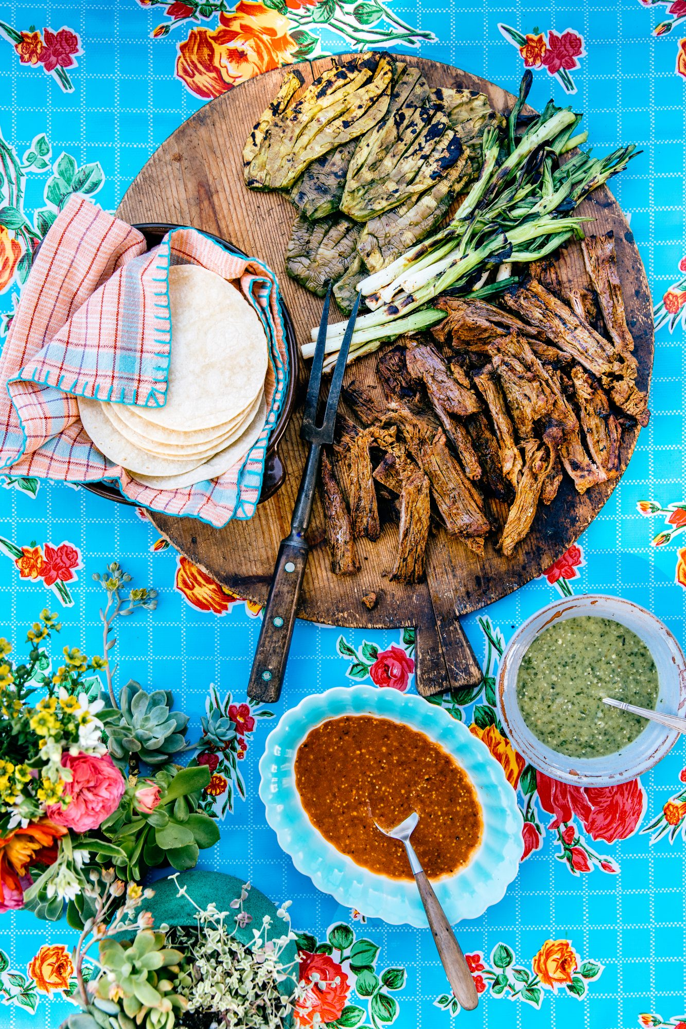 Carne Asada with Nopales and Green Onions
