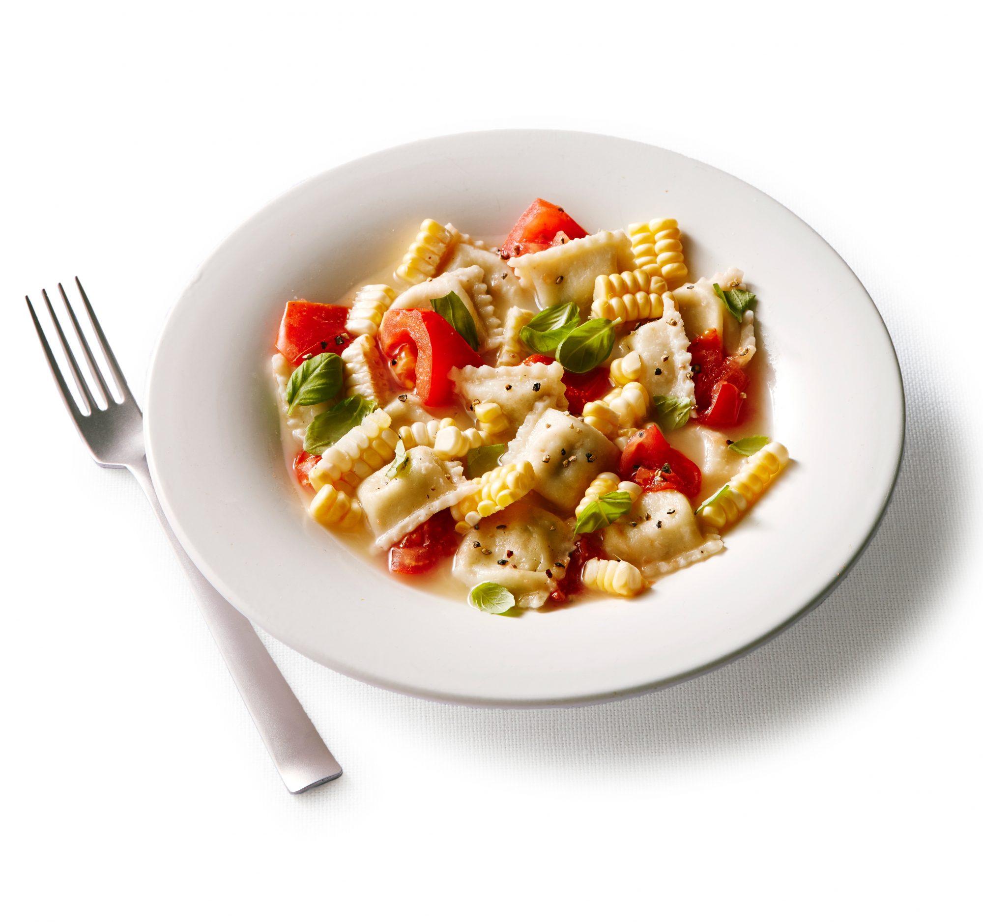 Ravioli with Corn and Tomatoes