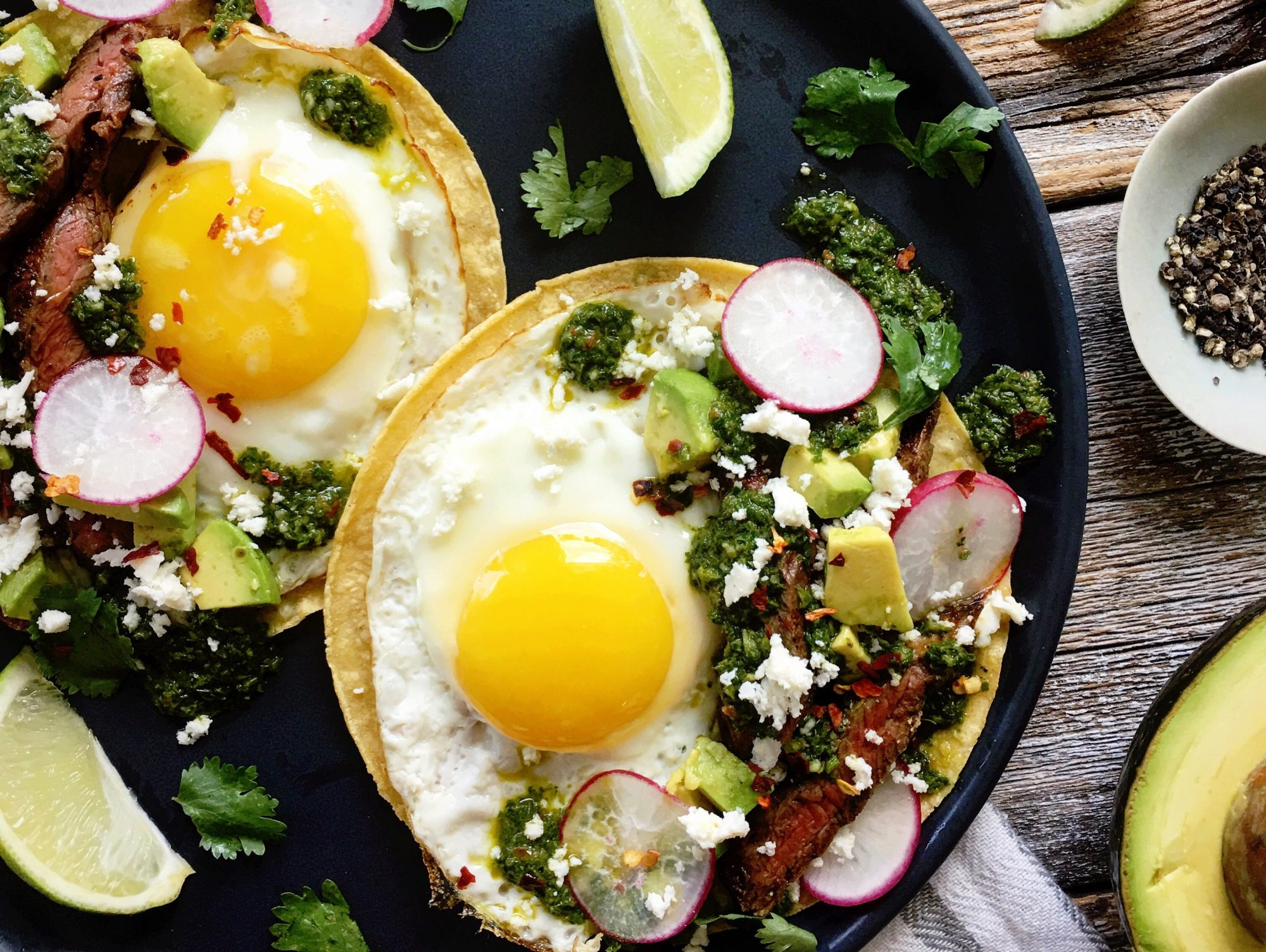 <p>Steak and Fried Egg Breakfast Tacos with Chimichurri</p>