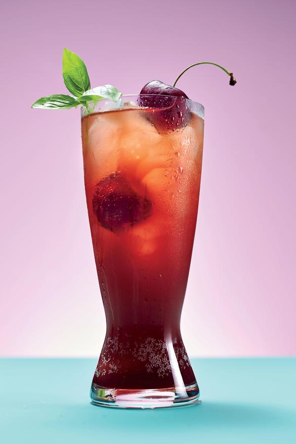 Cherry-Basil Fizz