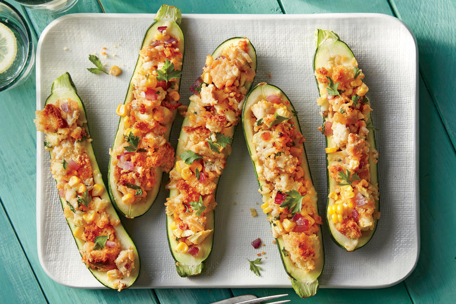 Cornbread-Stuffed Zucchini