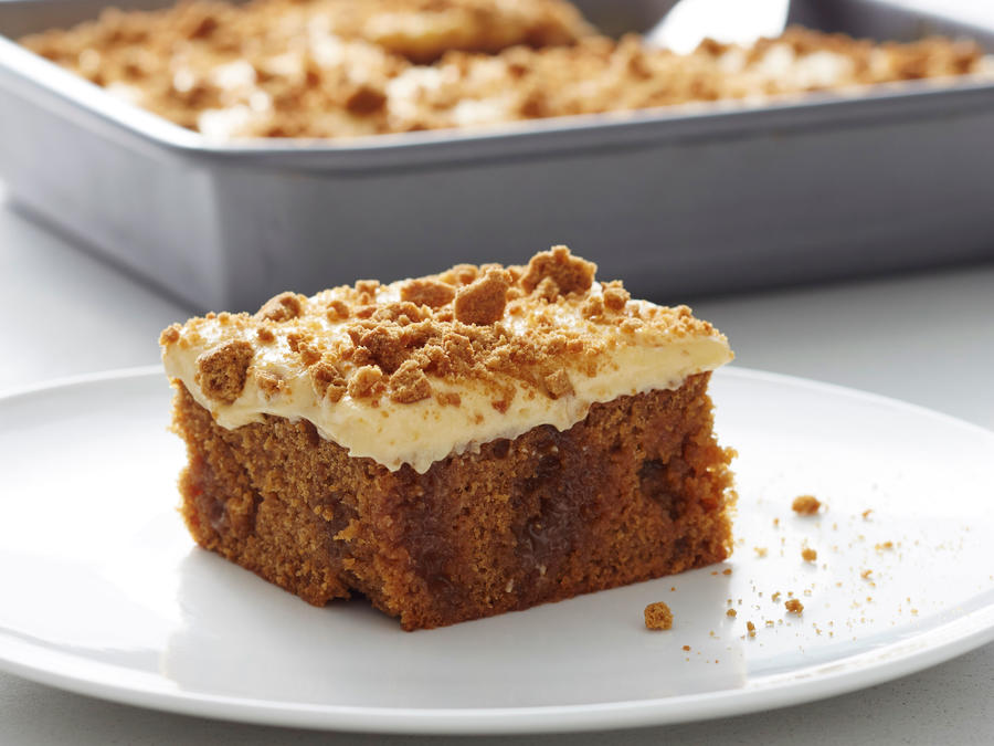 Salted Caramel Gingerbread Poke Cake with Pumpkin Cream Cheese Frosting
