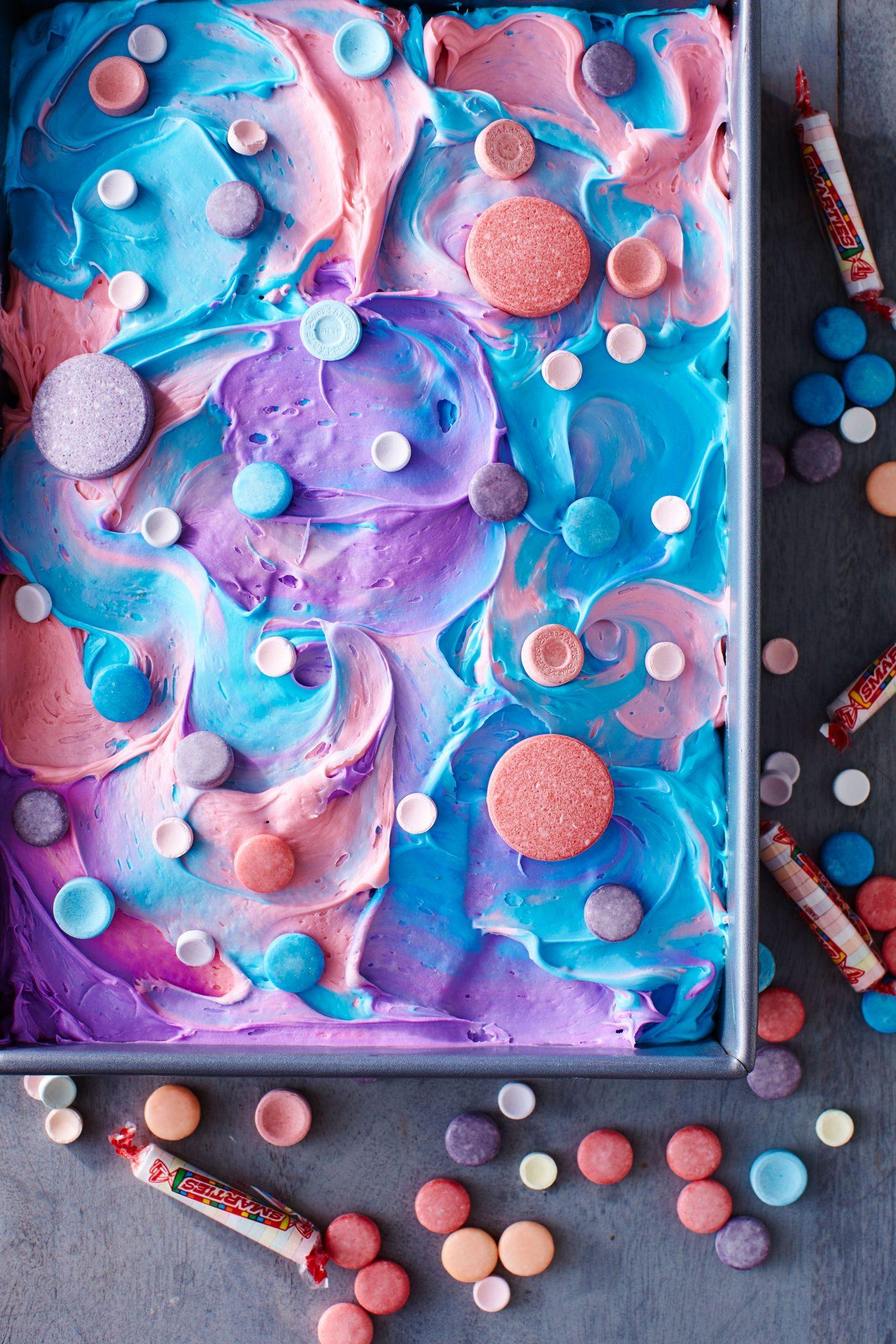 SweeTARTS and Smarties Tie-Dye Cake