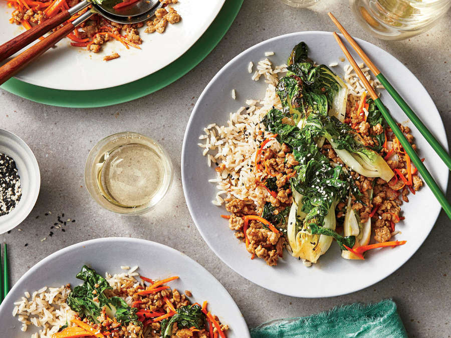 Sweet-and-Sour Sesame Bok Choy with Pork