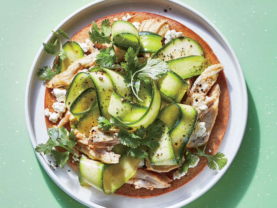ck-Zucchini-Ribbon Pizza with Chicken