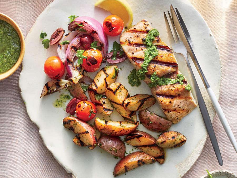 Grilled Mahi-Mahi with Lemon-Parsley Potatoes