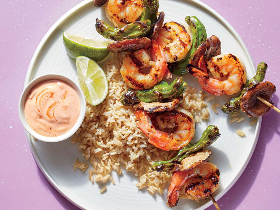 <p>Shrimp-Chile Skewers</p>