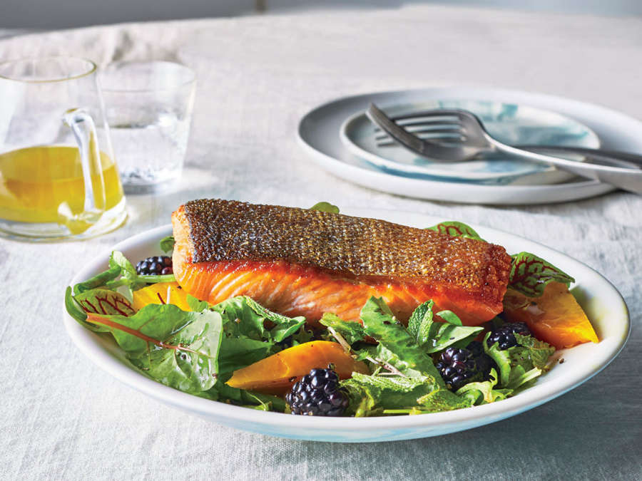 ck- Seared Salmon Salad with Beets and Blackberries