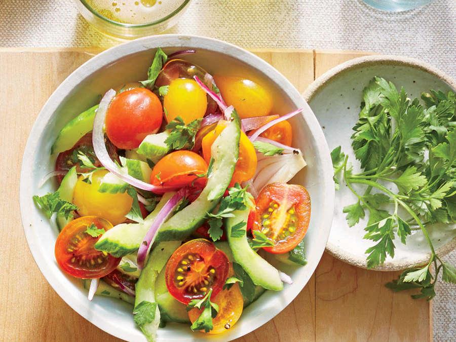 Cucumber, Onion, and Tomato Salad