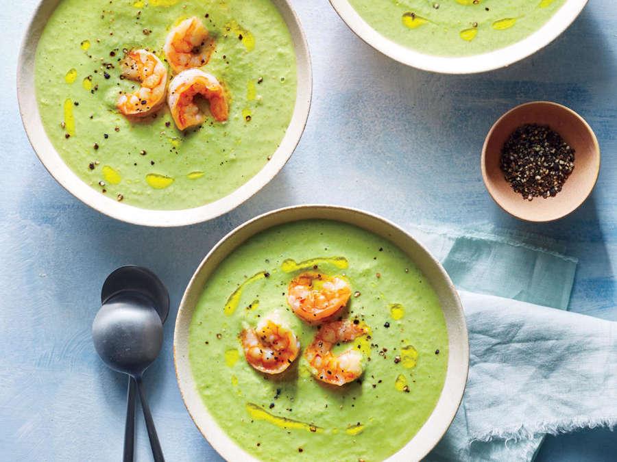 Green Gazpacho with Shrimp