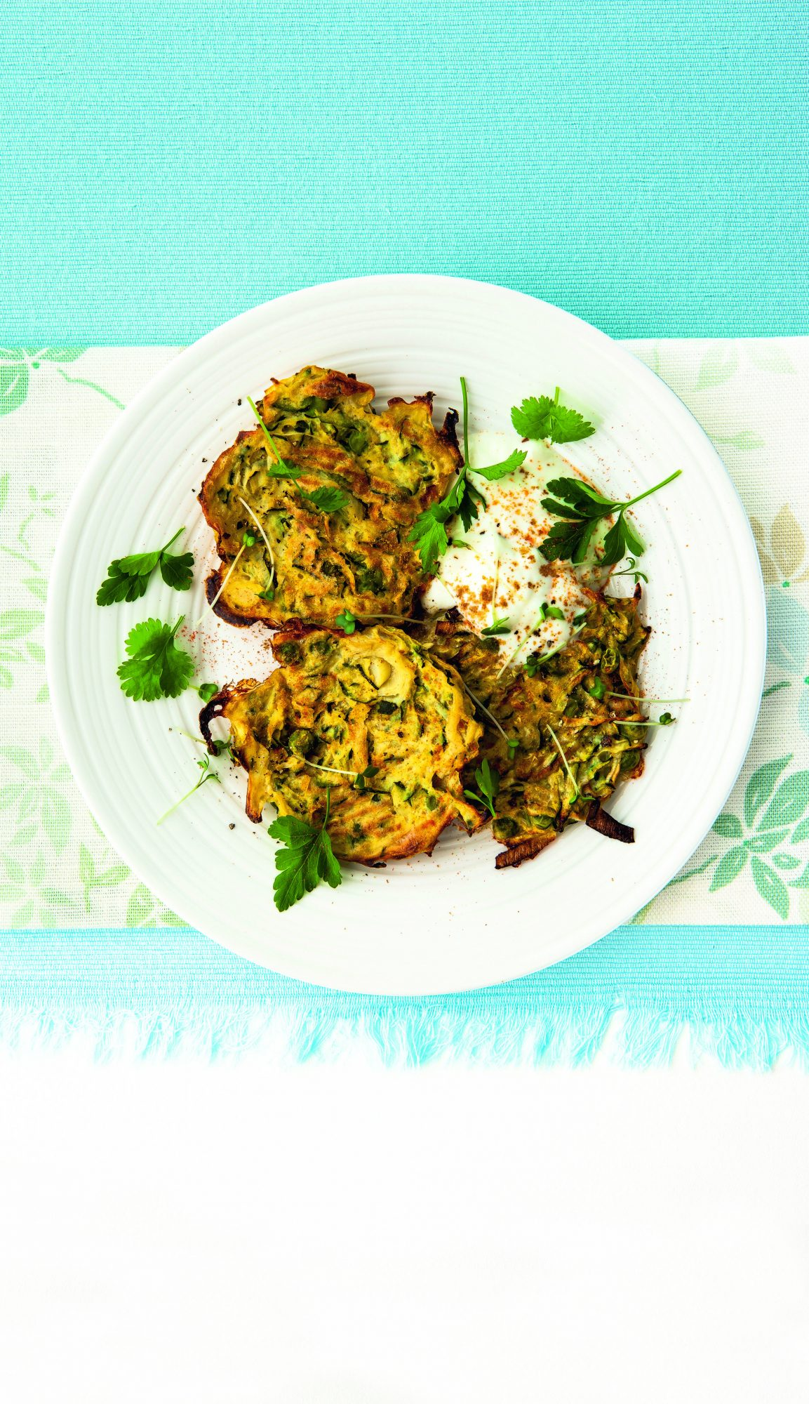 Spiced Zucchini, Leek and Pea Fritters