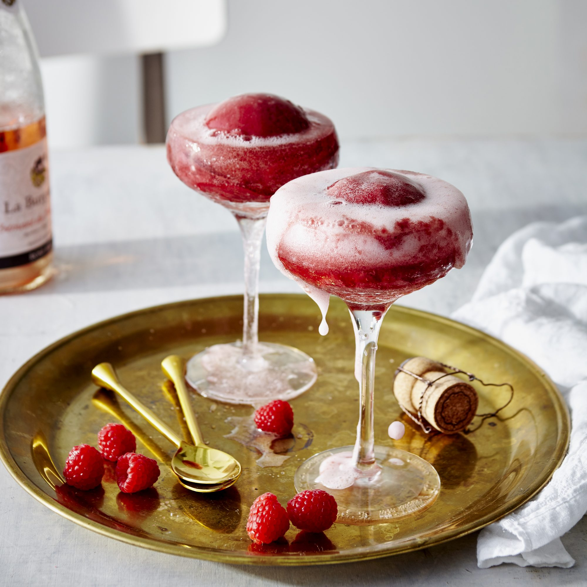 Rosé and Raspberry Sorbet Floats