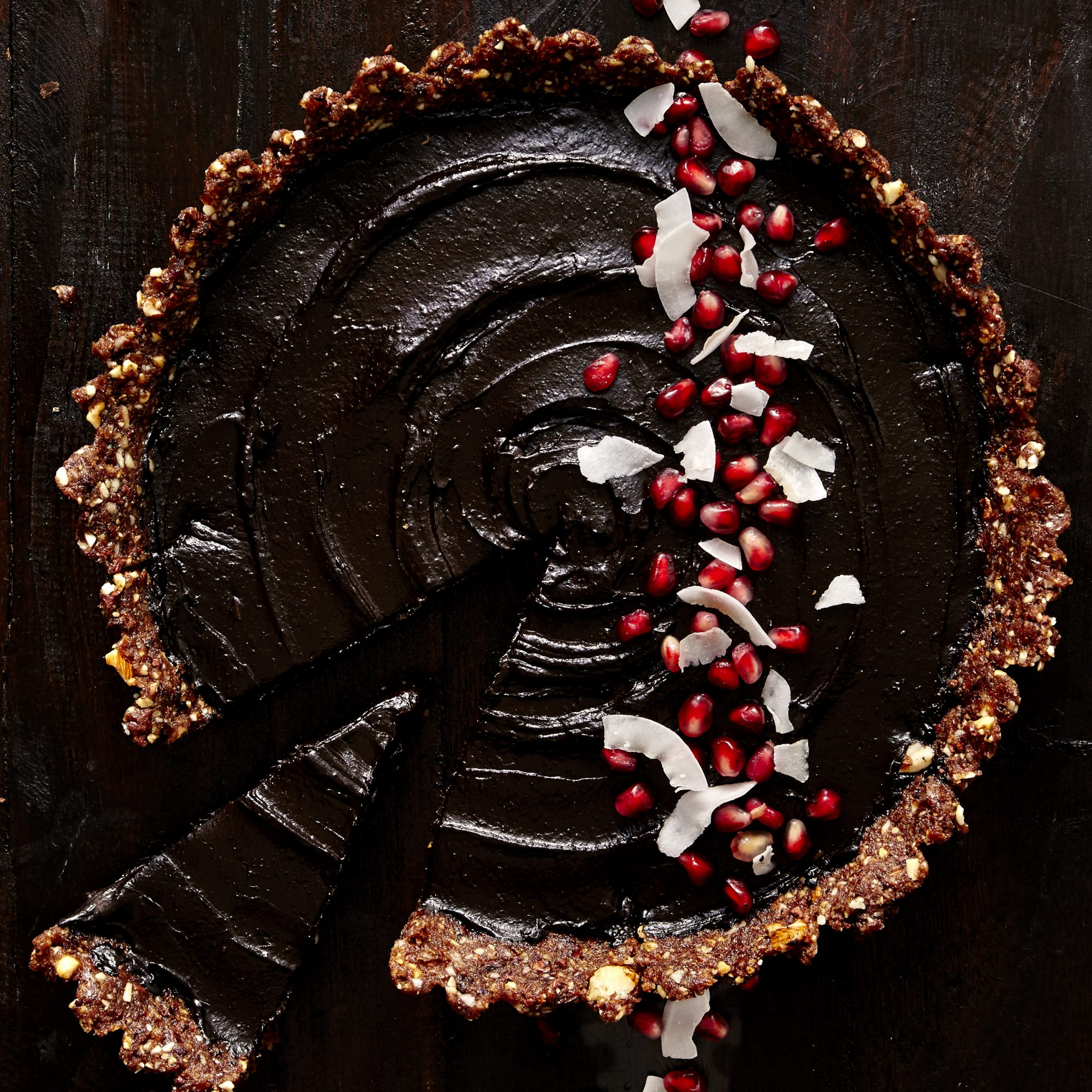 Vegan Dark Chocolate Coconut Tart