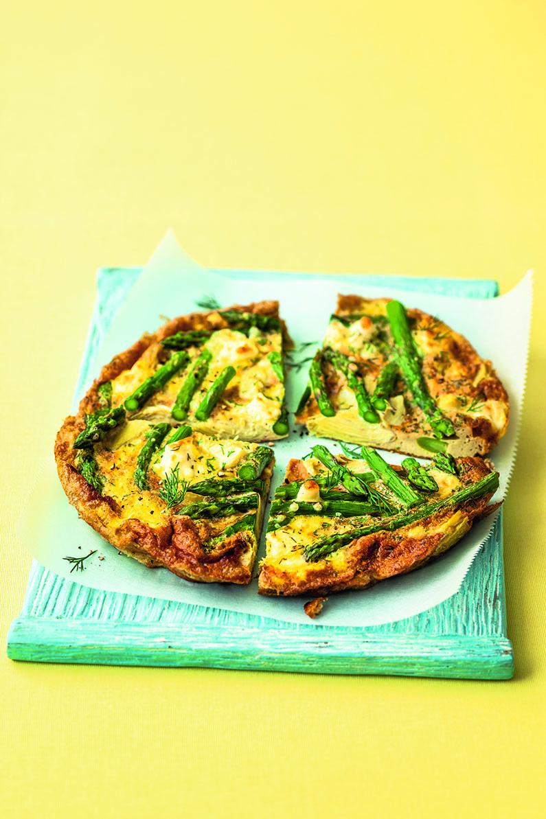 <p>Asparagus, Artichoke, And Feta Frittata</p>