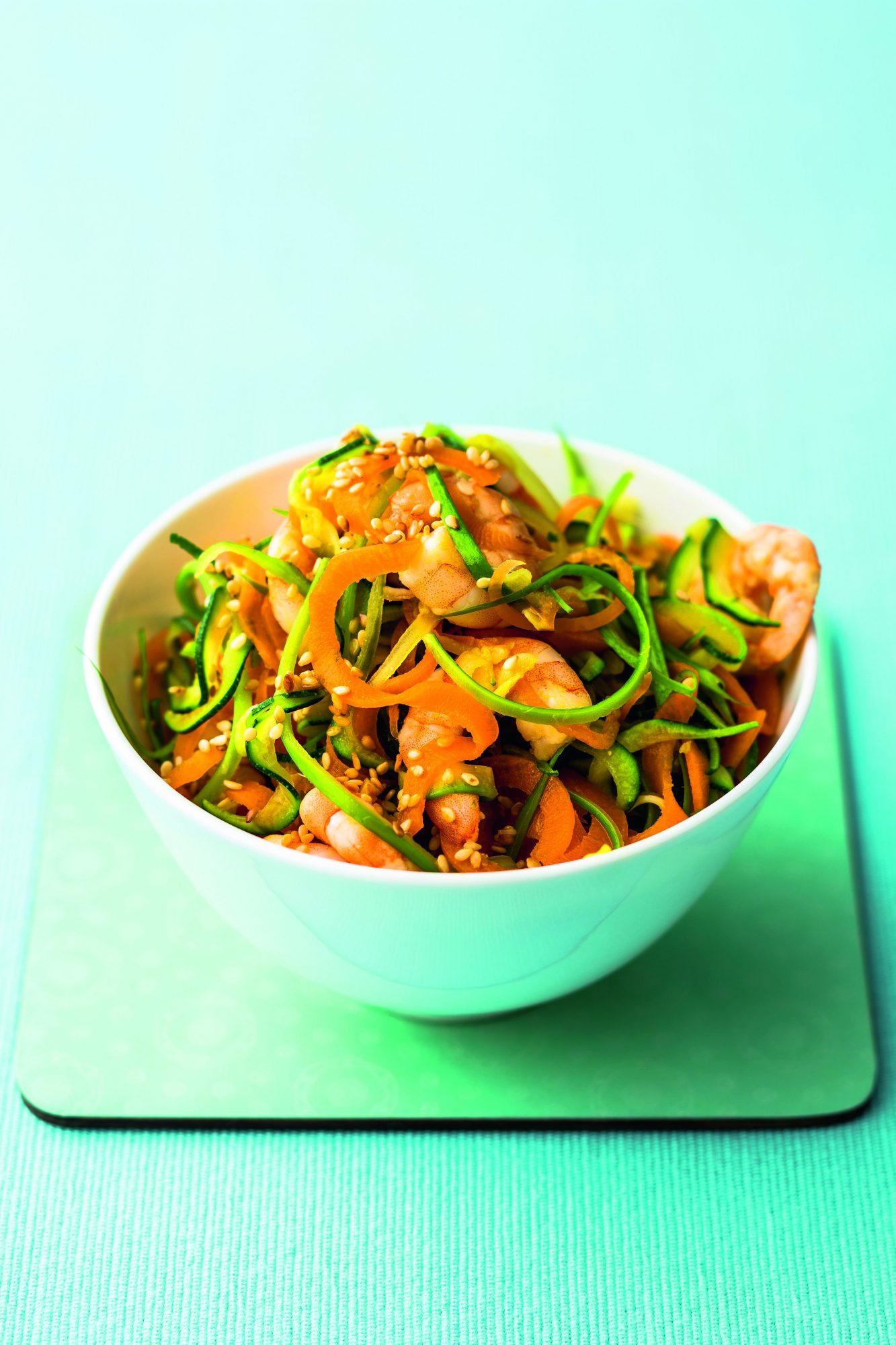 """oh- Stir-Fry Sesame Shrimp with Vegetable """"Noodles"""""""