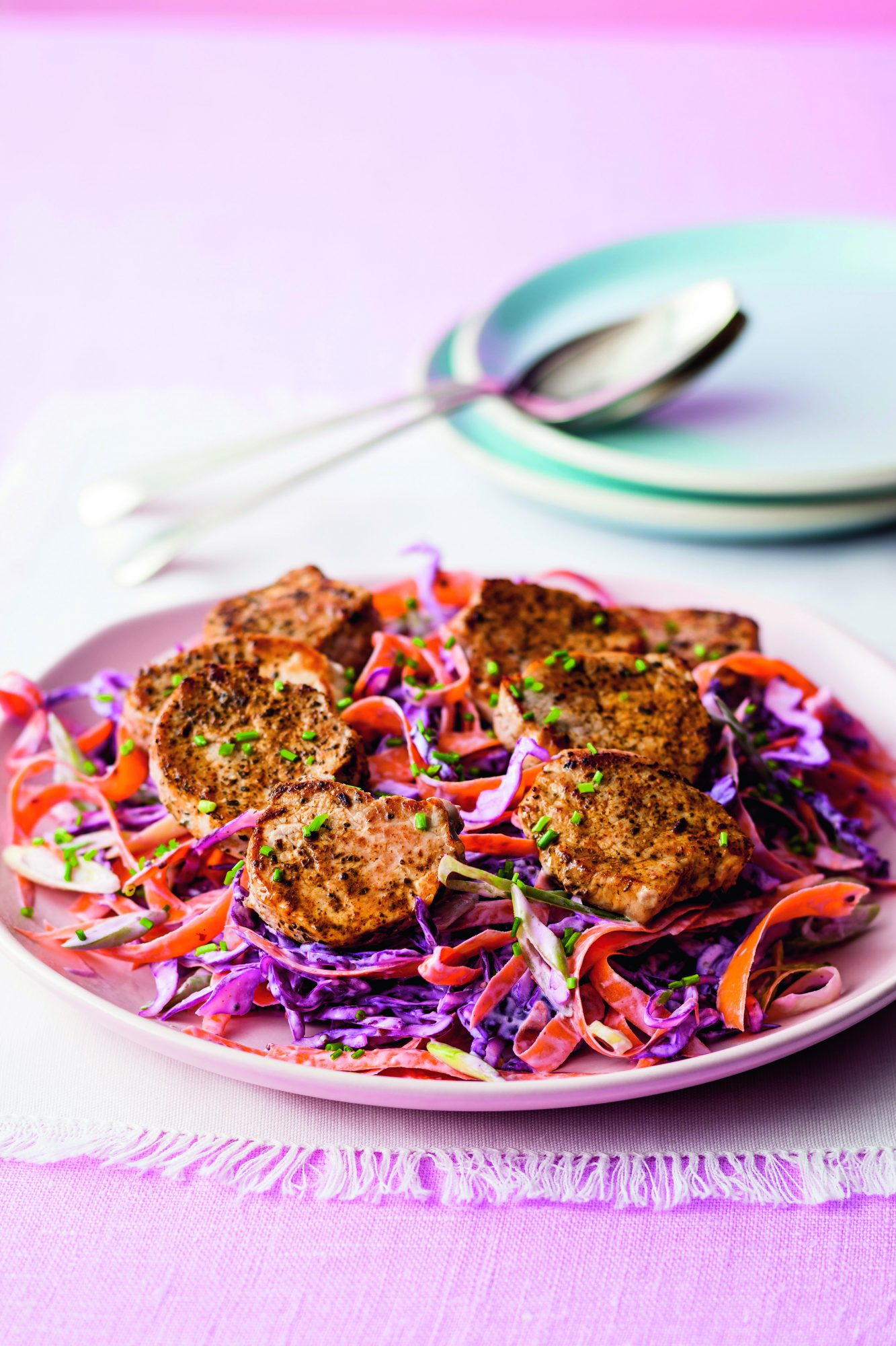 oh- Cajun-Style Pork with Crunchy Coleslaw