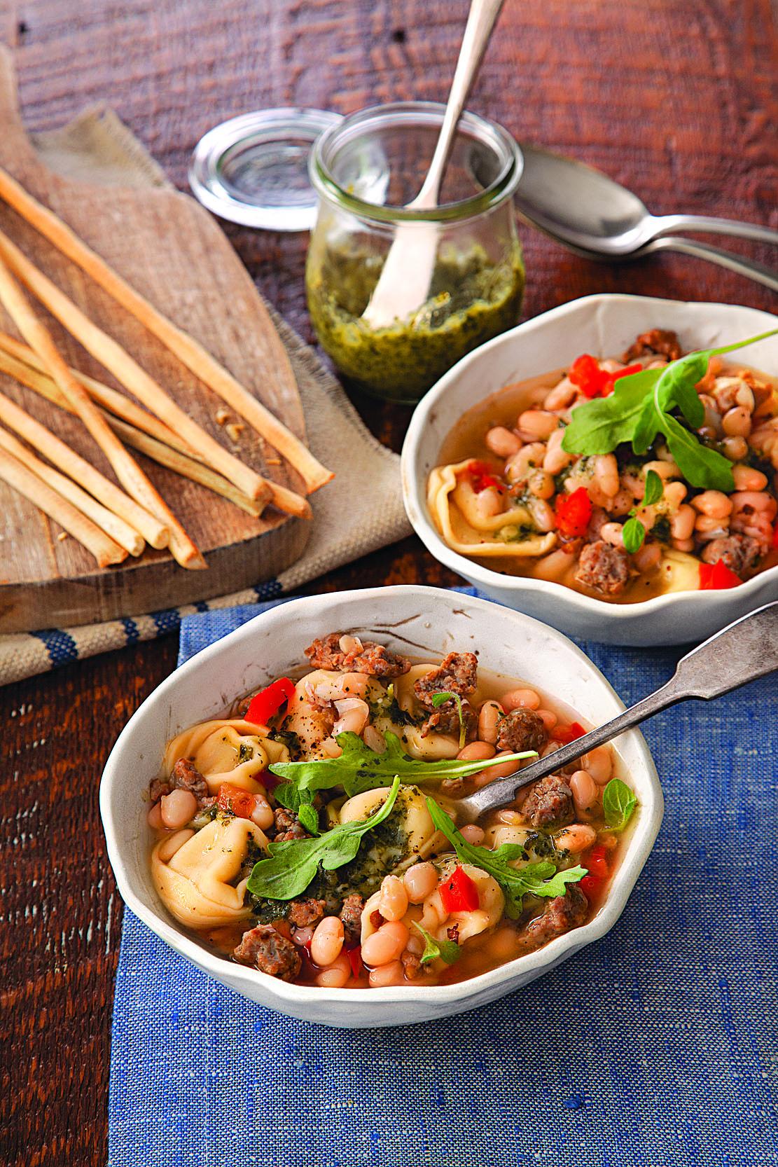 White Bean, Turkey Sausage, and Tortellini Soup
