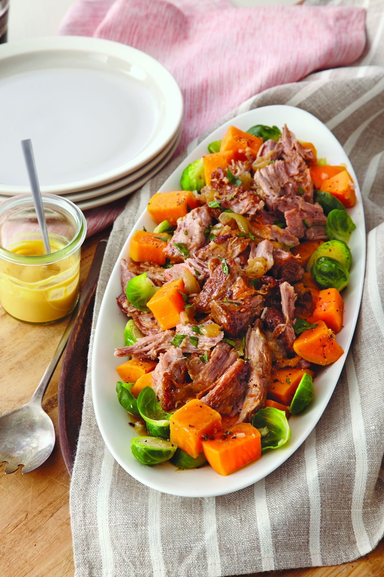 Roast Pork with Brussels Sprouts and Sweet Potatoes