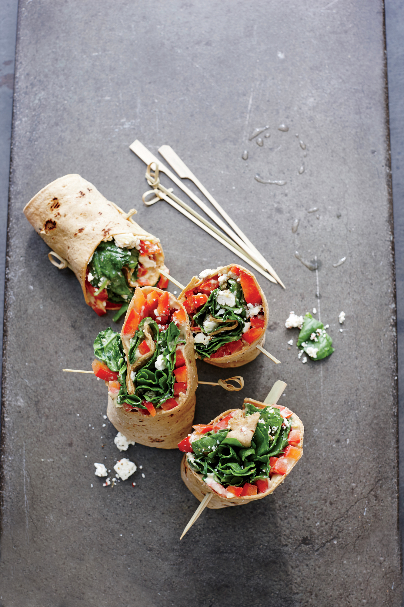 Spinach, Hummus, and Bell Pepper Wraps