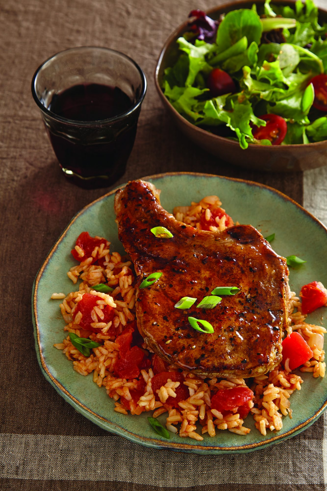 Jalapeño-Glazed Pork Chops and Rice