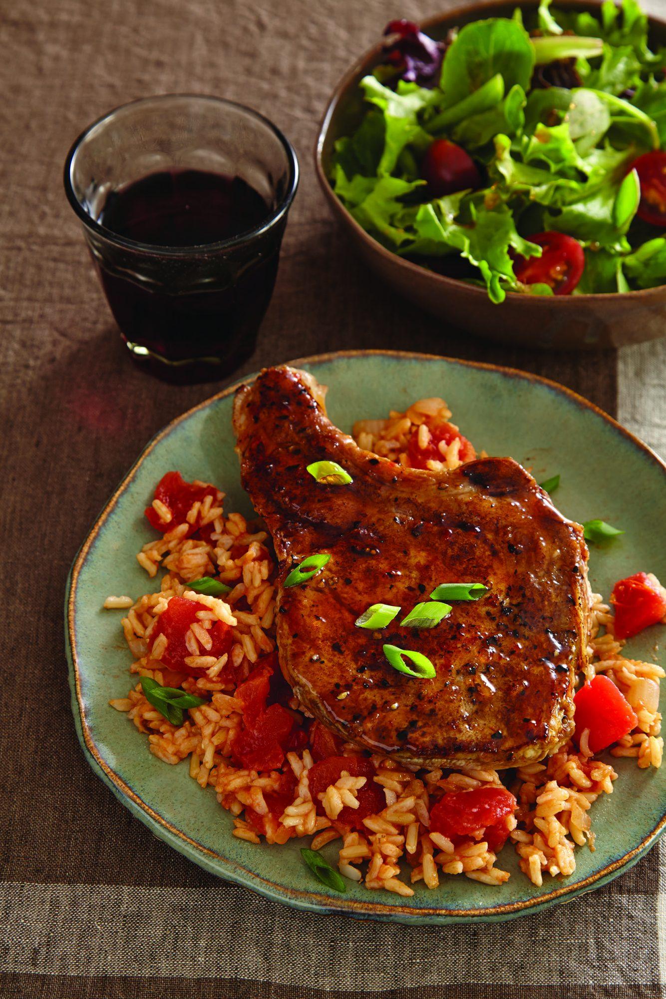 Jalapeño-Glazed Pork Chops and Rice
