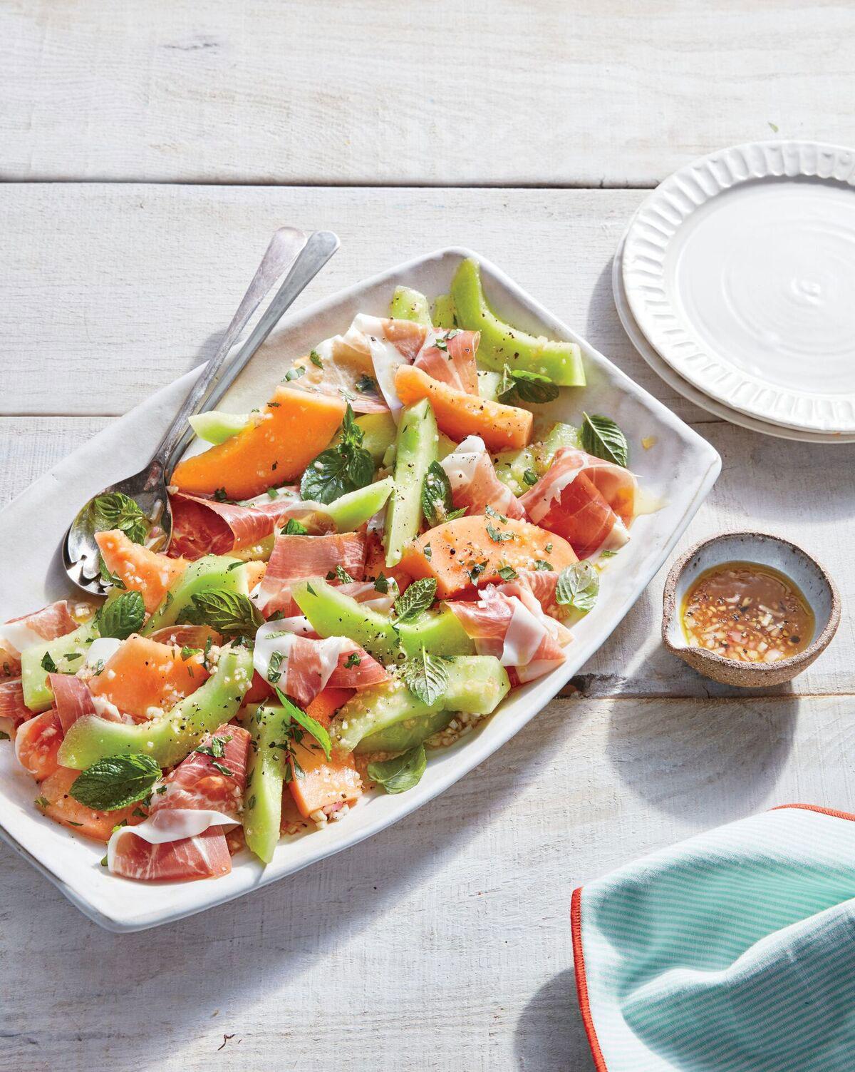 summer-melon-salad-with-ham-and-mint-vinaigrette