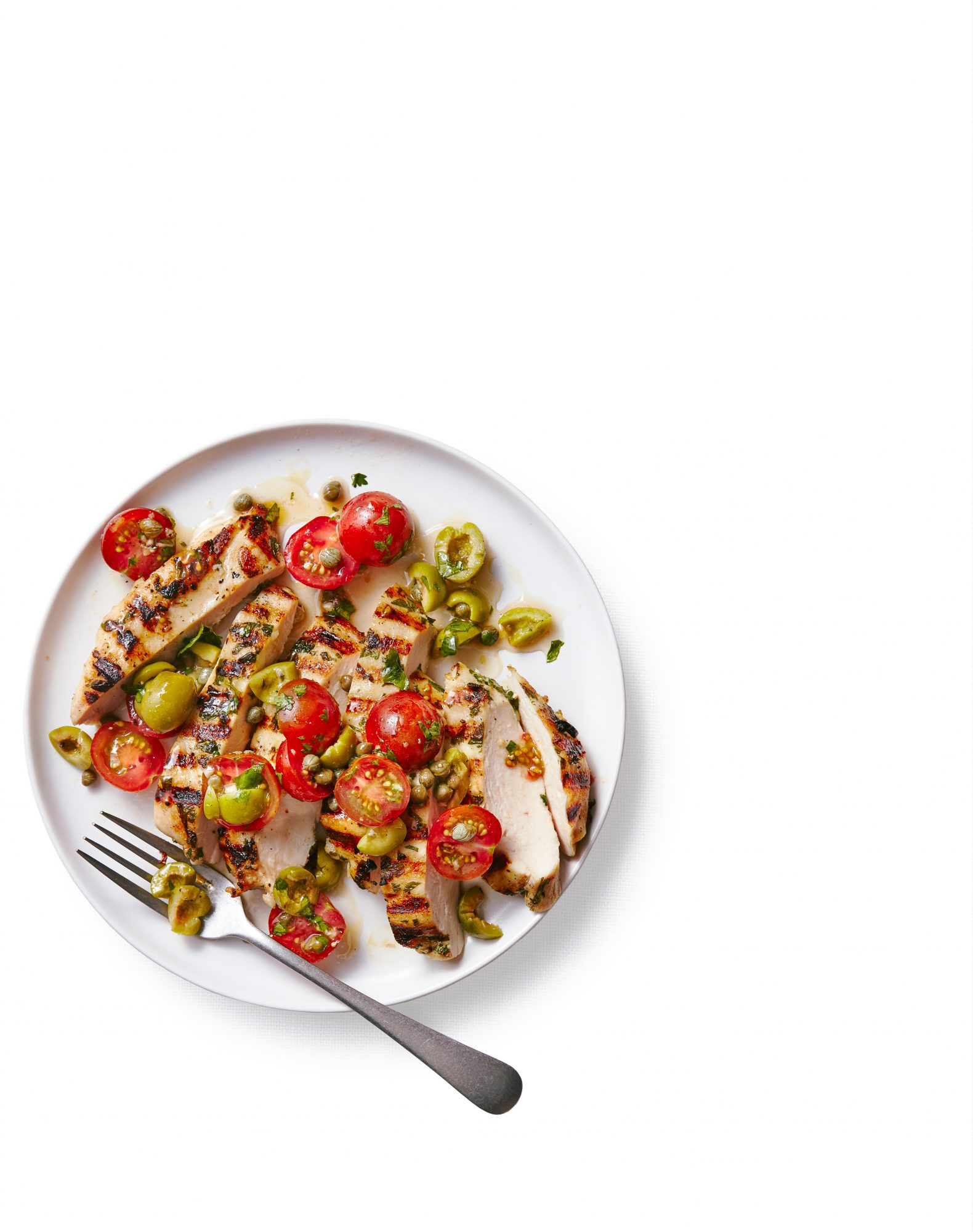 Chicken with Green Olives, Capers, and Tomatoes