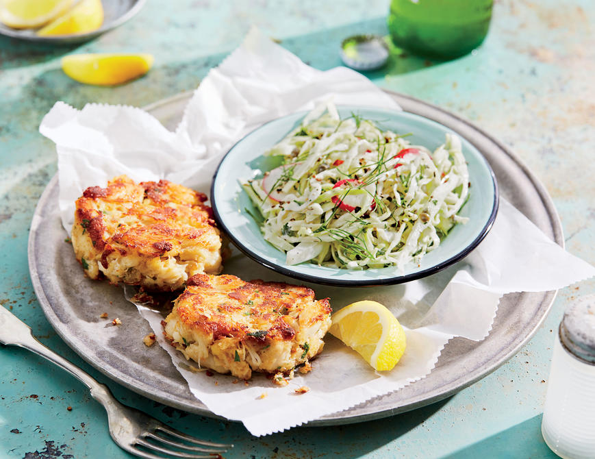 <p>Crab Cakes with Creamy Fennel-and-Radish Slaw</p>